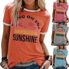 Womens Tee Blouse Pullover Basic Patchwork Shirt Loose Ladies Casual Tops UK8-18