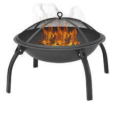 "22"" Round Metal Fire Pit Fire Bowl Outdoor BBQ Burning Grill Patio W Poker Grate"