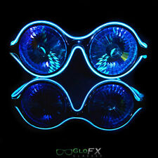 LED Kaleidoscope Glasses - BLUE - EL Wire wrapped Made in the USA Quality Rave