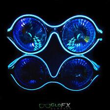 Wormhole Kaleidoscope Blue Luminescence Diffraction Glasses Rave LED EL Light Up