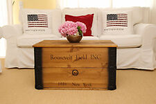 "Uncle Joe's Truhe Couchtisch Holzkiste """"Roosevelt Field"""", vintage, shabby chic Holz 80 x 55 x 44 cm, Hellbraun"