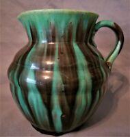 Mid Century Studio Art Pottery Pitcher Creamer Cream Milk Green Turquoise Glaze