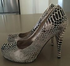 Gorgeous Luxe BETTS Bronze & Ivory Snakeskin Print Almond Toe Pumps Size AU/US8
