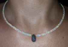 25CT Genuine Fire Opal 1ct London Blue Topaz solid 14k Gold Necklace pendant