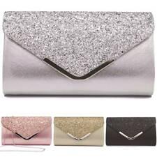 Womens Glitter Handbag Clutch Bag Ladies Rockabilly Wedding Party Sparkly Purse