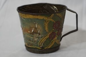 ANTIQUE CHILDS TIN CUP RATTLE TOY SHIP WRECK LIFEBOAT IN MEMORIAM HISTORY