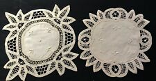 """Two Lovely Battenberg Tape Lace Doilies 9' and 11"""" Diameters Creative Decor"""