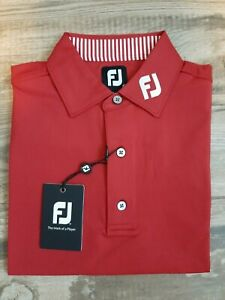 NEW FootJoy Mens Lisle Solid Pro Dry Golf Polo Small Red 32939