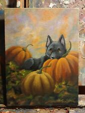 OriginAl Oil Painting~Schipperke~dog~P umpkin~Fall~Hand Painted`Whimsical~Art