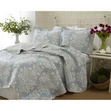 Laura Ashley Blue/White Floral Cotton Reversible Quilt,Bedspread Set/Twin
