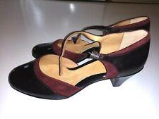 NWOB Softspots Pumps 10M Brown Burgundy Suede Leather Strap Heels color-block