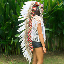 Extra Long Native American Indian style Feather Headdress - White Duck