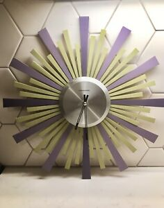sterling noble wall clock Starburst Sun Mid Century wood Purple Green Works!