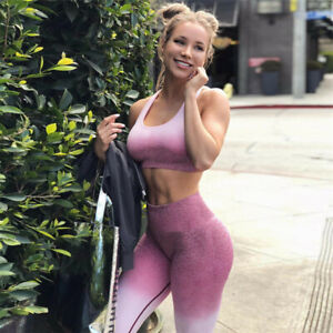 seamless leggings and bra set woman sports yoga gym active activewear