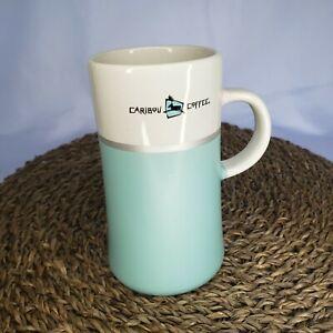 Caribou Coffee Aqua Mint Blue Tall Coffee Mug Tea Cup Silver Ceramic