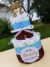 2 Tier Diaper Cake - Teddy Bear Theme Blue and Brown Diaper Cake for Baby Shower