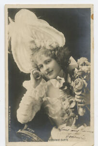 c 1904 Pretty Lady Theater EARTE French undivided back photo postcard