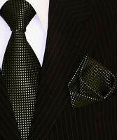 Binder de Luxe Designer Krawatte Einstecktuch Krawatten Set Tie 130 grün schwarz