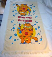 Garfield vintage 1978 Large towel Bubble Brushing Teeth Nos Cannon Usa