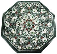 24 Inches Green Patio Table Top Octagon Marble Coffee Table with Cottage Crafts