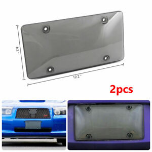 2PCS Car Truck Premium Quality Acrylic Smoked Clear License Plate Cover Frame