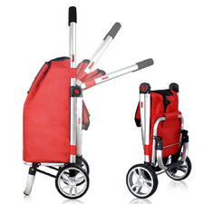Rugged Aluminium Shopping Market Trolley Foldable Luggage Cart Bag Basket Wheels