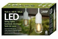 Feit Outdoor Wtherproof String Set 48ft 24 Light Sockets 26 LED Bulbs WHITE O/B