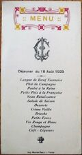 Menu: French 1929 w/Purple & Yellow Vignette - Langue de Boeuf Viennoise