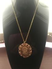 Cameo Gold Necklace Chain Diamante Antique Vintage Style