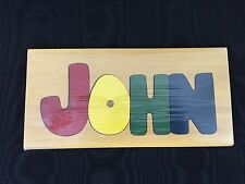 "Wooden Name Puzzle - ""JOHN"" - 10 1/2"" x 5"" - NEW"