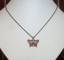 "Cute Red and Blue Bronze Butterfly Pendant 18"" Chain Necklace - Victoriana"