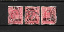 1902 King Edward VII Official O102 O49 O21 ARMY,ADMIRALTY, IR Used GREAT BRITAIN