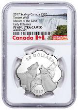 2017 Canada Master Land Timber Wolf Scalloped Silver $20 NGC PF69 UC ER SKU51582