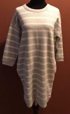 GAP Sweater Dress, Light Gray White Stripe 3/4 Sleeve, Women's Size Small  NWT