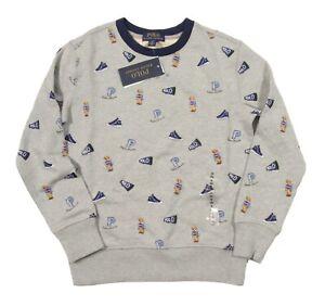 Polo Ralph Lauren Boys Grey Heather Polo Bear Graphic Terry Pullover Sweatshirt