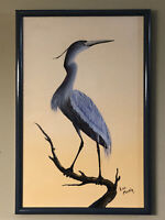 """Vintage Blue Heron Framed Oil Painting by Leo Martin Galleries of the South 20"""""""