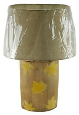 """Ceramic 19"""" Table Lamp and Shade Tall Round Leaf Finish Night Stand Counter U/L"""