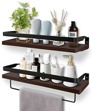Floating Shelves, Wall Mounted Bathroom Shelf, Rustic Wood - New, Open Box