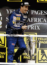 Nigel Mansell SIGNED in Person Autograph 16x12 Photo AFTAL COA Podium on Trophy