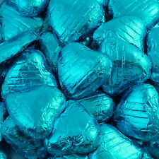 500g Bag Approx 100 TURQUOISE Chocolate Foiled Hearts Luxury Wedding Favours