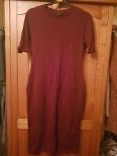 Ladies Topshop Burgundy Body Con Dress Size 12