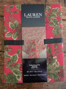 RALPH LAUREN Birchmont RED HOLLY Berry CHRISTMAS Holiday TABLECLOTH