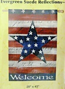 "Patriotic Stripe & Star Double-Sided Suede House Flag Big 29"" X 43"" Size"