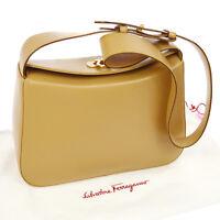 Authentic Salvatore Ferragamo Gancini Shoulder Bag Beige Leather Vintage AK12998