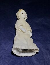 Unusual ~ Vintage ~ Bisque & Cloth ~ Penny Doll ~ Child in Gown & Bonnet