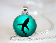 Vintage Sea Shark Jewelry Tibetan silver Dome Glass Art Chain Pendant Necklace