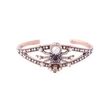 Bracelet Golden Tough Open Art Deco Spider skull Pearl Chiseled CT10