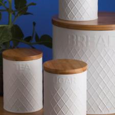 Typhoon Embossed White Tea Coffee Sugar Storage and Bread Bin Set
