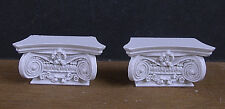 2   IONIC  COLUMN  CAPITALS  ~CAPS ~ Handcrafted ~ 1:12 scale  ~ Dollhouse Mini