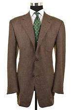 CANALI Green Brown Tones WOOL SILK TWEED Patch Pocket Sport Coat Jacket 52 42 L